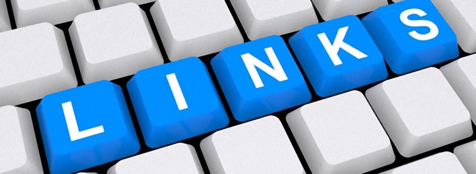 tastiera, tasti bianchi, tasti azzurri, testo, links